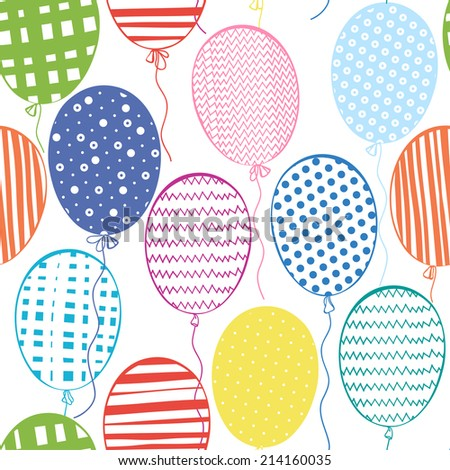 Seamless pattern with multicolored  balloons.Hand-drawn background. - stock vector