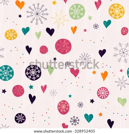 Seamless pattern with multicolored snowflakes, stars and hearts. Hand drawn design for Christmas and New Year greeting cards, fabric, wrapping paper, invitation, stationery. - stock vector