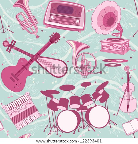 Seamless pattern with musical instruments and appliances - stock vector