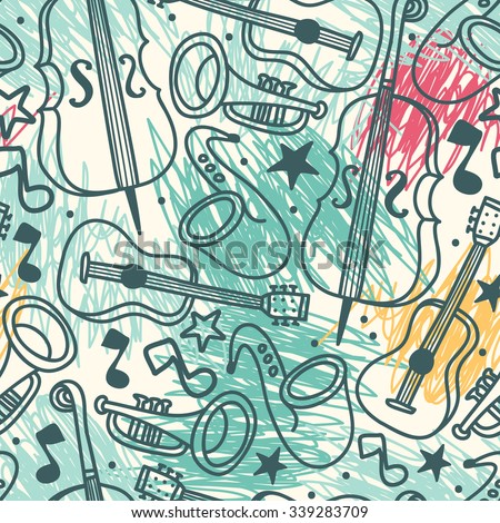 seamless pattern with musical instruments on strokes background, vector illustration - stock vector