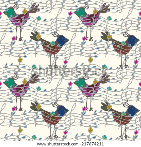 seamless pattern with musical notes and birdsong  - stock vector