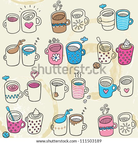 Seamless pattern with nice tea and coffee cups