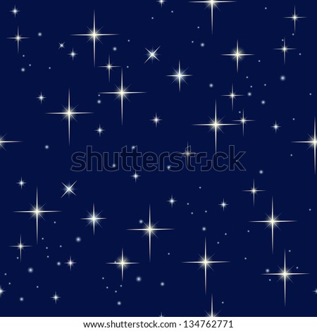Seamless pattern with night sky and stars - stock vector