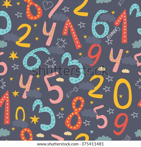 seamless pattern with numbers for children. learn to count concept - stock vector