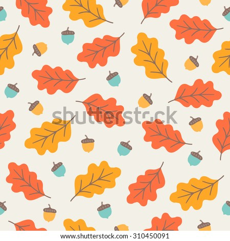 Seamless pattern with oak autumn leaves and acorns. Perfect for wallpapers, wrapping papers, pattern fills, textile, autumn greeting cards, Thanksgiving Day cards - stock vector