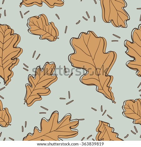 Seamless pattern with oak leaves. Vector illustration. - stock vector