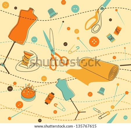 Seamless pattern with objects for sewing in retro-style - stock vector