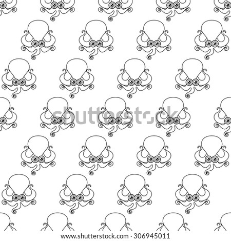 Seamless pattern with octopus icons in black line style  - stock vector