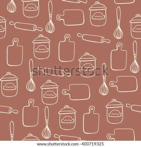 Seamless pattern with of kitchen doodle sketch