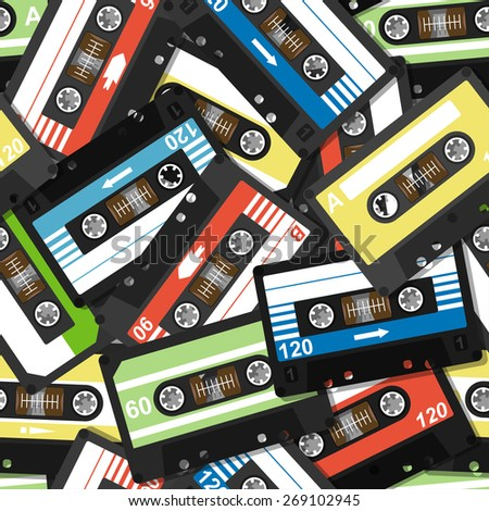 seamless pattern with old cassettes - stock vector