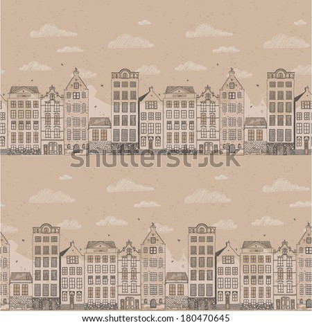 seamless pattern with old houses and cloudy sky - stock vector