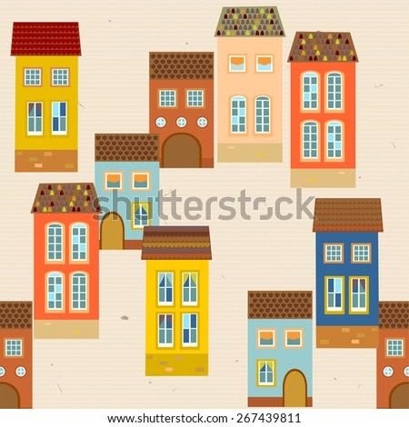 Seamless pattern with old houses with tiled roof. Blue, terracotta, orange, beige background. Vector. - stock vector