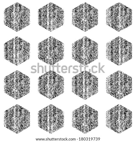 Seamless pattern with old painted damaged texture. Black color hexagon shape in white background. Geometrical traditional backdrop. Template swatch vector illustration graphic design element in 8 eps - stock vector