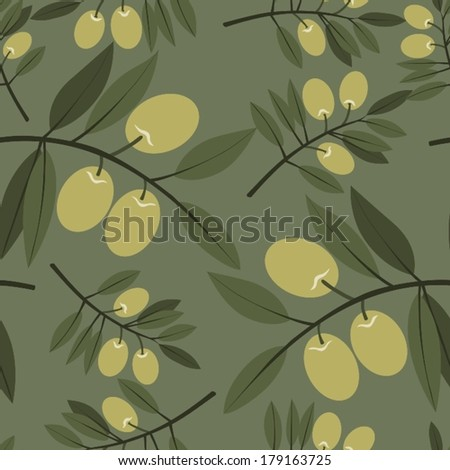 Seamless pattern with olives - stock vector