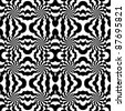 Seamless pattern with optical effect in black and white - stock vector