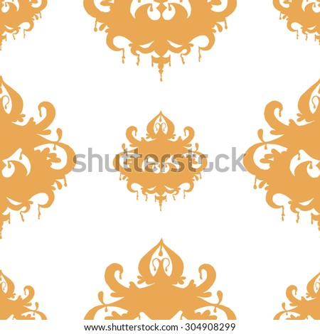 Seamless pattern with orange chandelier silhouette