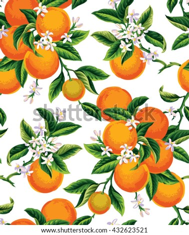 Seamless pattern with orange fruits, flowers and leaves on a white background. Vector illustration. - stock vector