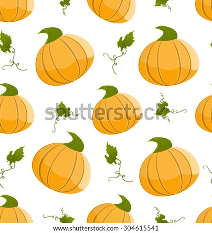 Seamless Pattern with Orange Pumpkins and Green Leaves - vector - stock vector