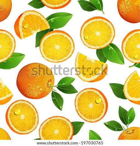 Seamless pattern with oranges, slices and green leaves. Realistic vector illustration. Fresh oranges fruits.
