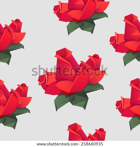 Seamless pattern with origami red roses. Vector illustration. - stock vector