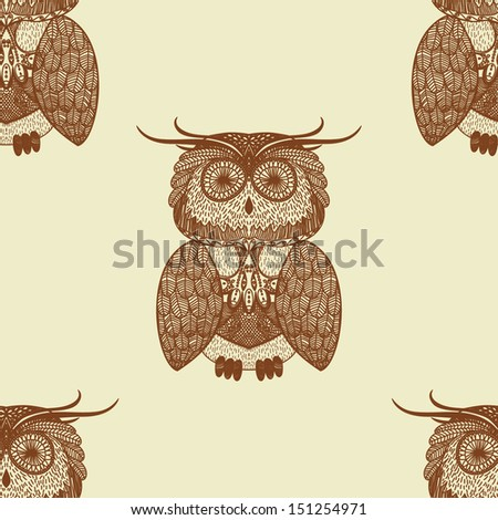 Seamless pattern with ornamental owls - stock vector