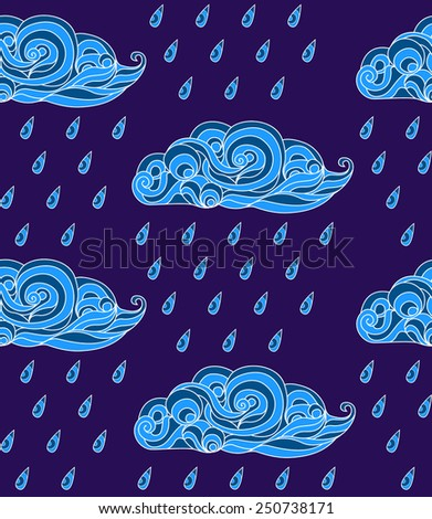 Seamless pattern with ornate clouds in Japanese style. Autumn rain - stock vector