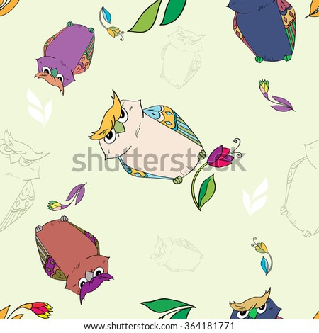Seamless pattern with owls. - stock vector