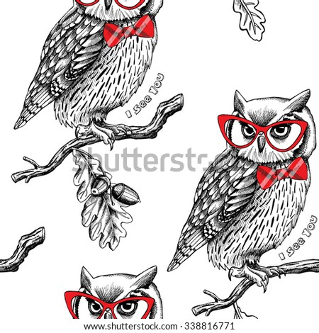 Seamless pattern with owls in glasses and red tie on a oak branch. Vector illustration.