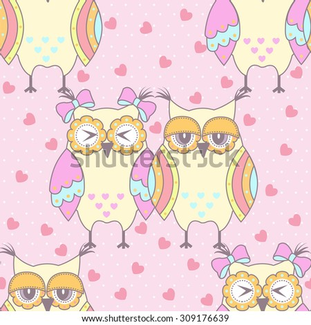 Seamless pattern with owls in love on a pink background - stock vector