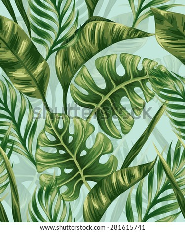 Seamless pattern with palm leaves - stock vector