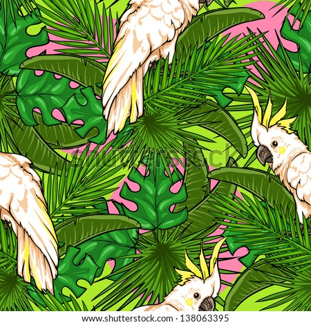 Seamless pattern with palm leaves and parrots, Tropical background - stock vector