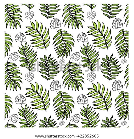 Seamless pattern with palm leaves. Hand drawn pattern. seamless tropical jungle floral pattern background with palm leaves. Palm pattern. Palm tree leaves in a seamless pattern. - stock vector