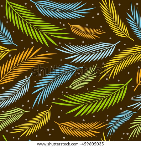 Seamless pattern with palm leaves ornament