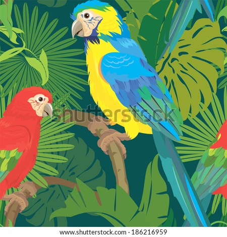 Seamless pattern with palm trees leaves and Blue Yellow and Red Blue Macaw parrots. Ready to use as swatch. - stock vector