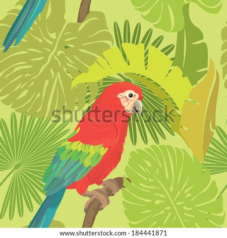 Seamless pattern with palm trees leaves and Red Blue Macaw parrot.  - stock vector