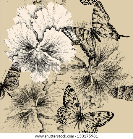 Seamless pattern with pansies and butterflies. Vector illustration. - stock vector