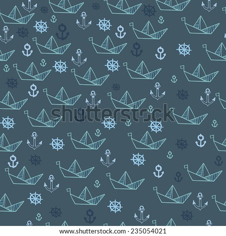 Seamless pattern with paper boat with nautical elements. Vector illustration. - stock vector