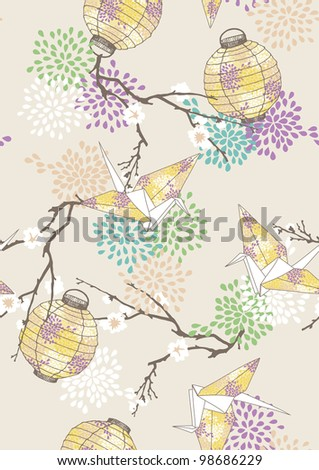 Seamless Pattern with Paper Cranes and Lanterns - stock vector
