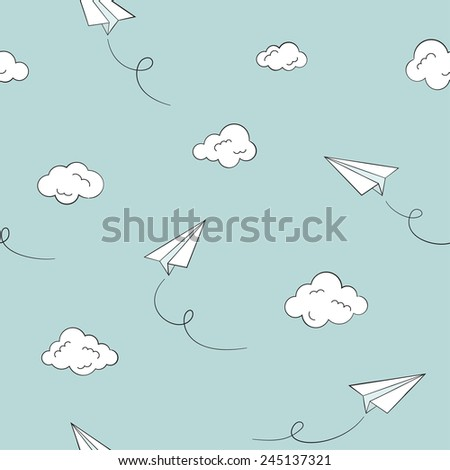 Seamless pattern with paper planes and clouds - stock vector
