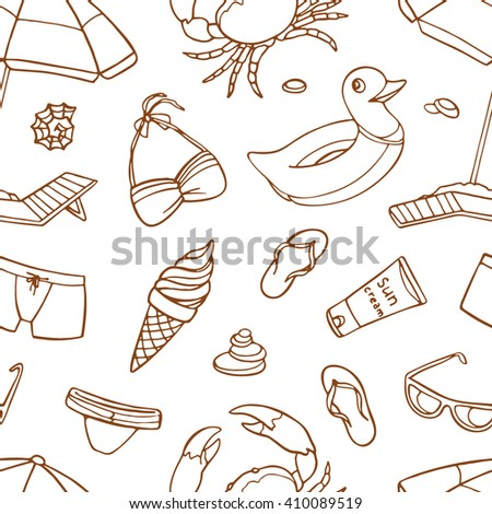 Seamless pattern with parasol, sunglasses, swimsuit, sandals, shells, crab, ice cream, suntan cream, rubber ring for swimming, pebbles.