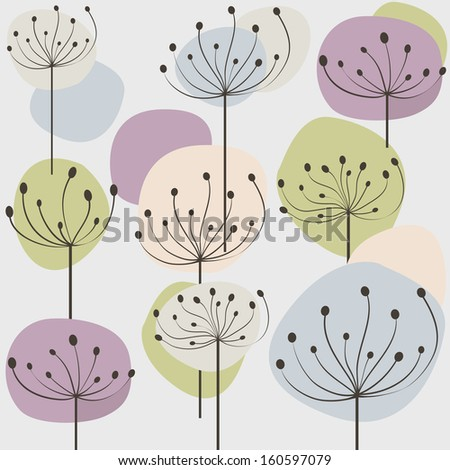 Seamless pattern with pastel dandelion flowers. Vector illustration  - stock vector