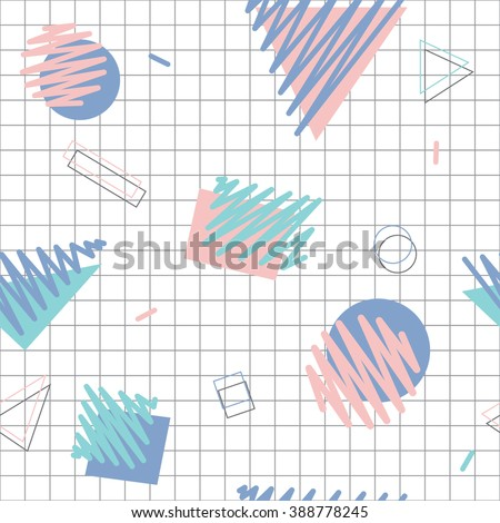Seamless pattern with pastel pen strokes in retro 80s style 2