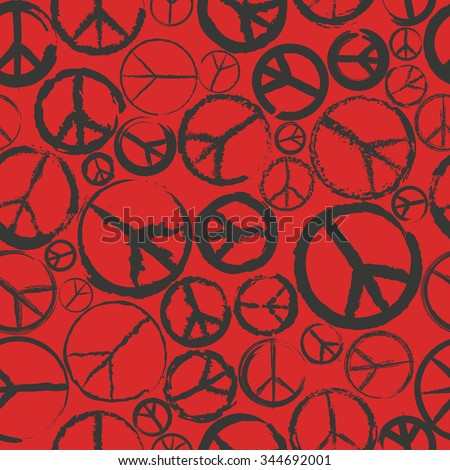 seamless pattern with peace sign - stock vector