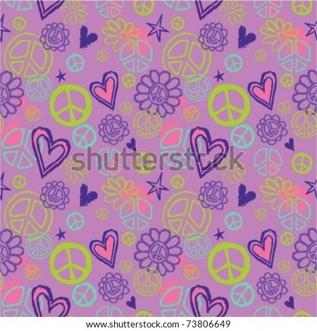 seamless pattern with peace signs and hearts - stock vector