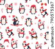 seamless pattern with penguins. ...