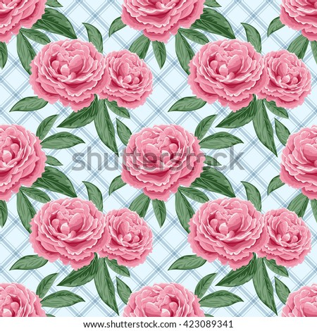 Seamless pattern with peonies and leaves. Illustration in retro style. Vector