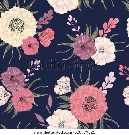 Seamless pattern with peony, dahlia and poppy. Collection decorative floral design elements for wedding invitations and birthday cards. Vintage hand drawn vector illustration in watercolor style.