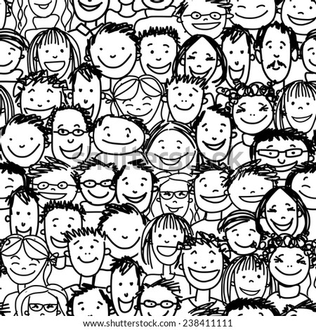Seamless pattern with people crowd for your design, vector illustration - stock vector