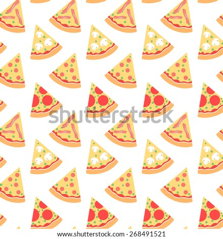 Seamless pattern with pieces of pizza - stock vector