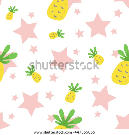 Seamless Pattern with Pineapples and Stars. Cute Background with Fruit for Print.